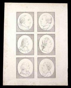 Profiles of men and women - Original Etching by Thomas Holloway - 1810