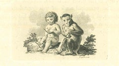The Child and the Monkey - Original Etching by Thomas Holloway - 1810