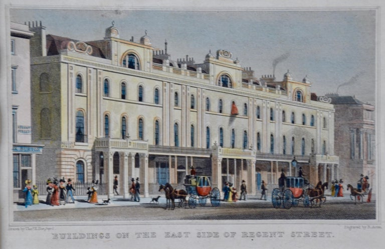 Three 19th C. Hand Colored Engravings of London Architecture by T. Shepherd - Realist Print by Thomas Hosmer Shepherd