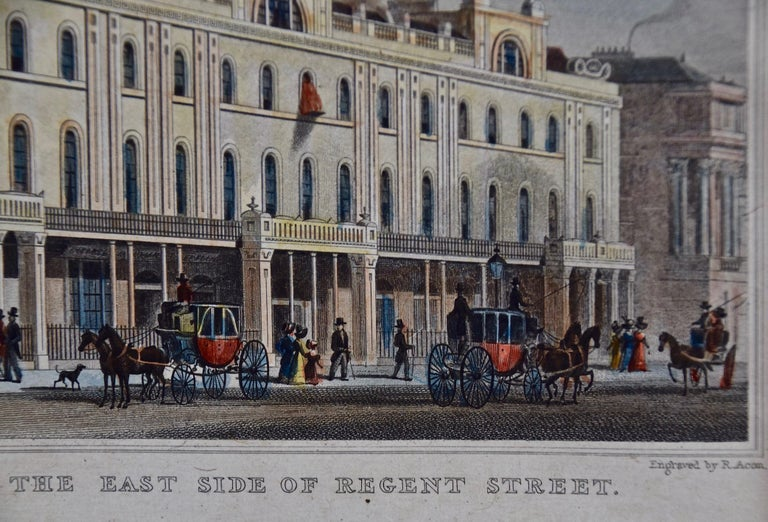 Three 19th C. Hand Colored Engravings of London Architecture by T. Shepherd For Sale 1