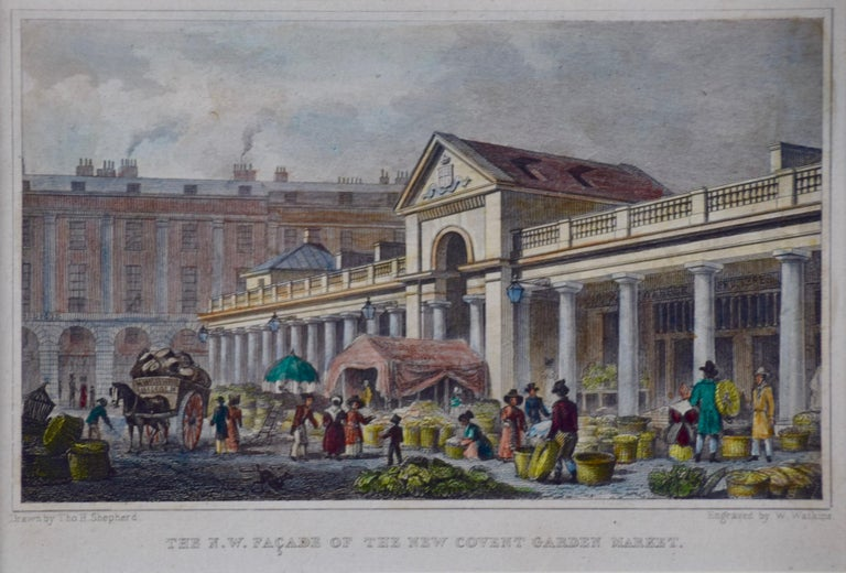 Three 19th C. Hand Colored Engravings of London Architecture by T. Shepherd For Sale 3