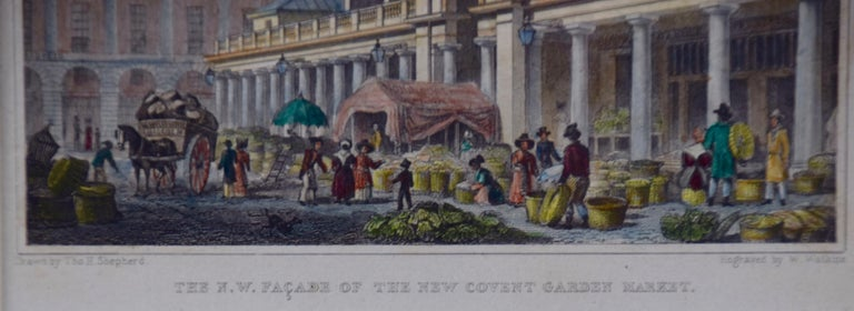 Three 19th C. Hand Colored Engravings of London Architecture by T. Shepherd For Sale 4