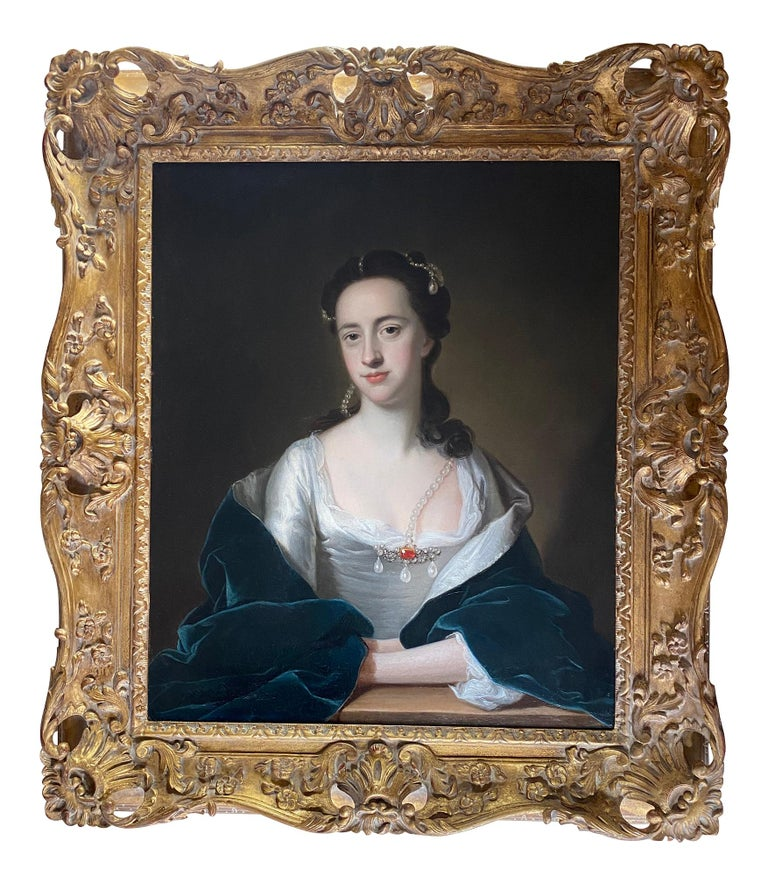 Thomas Hudson Portrait Painting - 18TH CENTURY ENGLISH PORTRAIT OF A LADY IN WHITE DRESS AND BLUE CLOAK