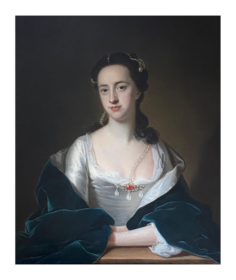 18TH CENTURY ENGLISH PORTRAIT OF A LADY IN WHITE DRESS AND BLUE CLOAK  - Painting by Thomas Hudson