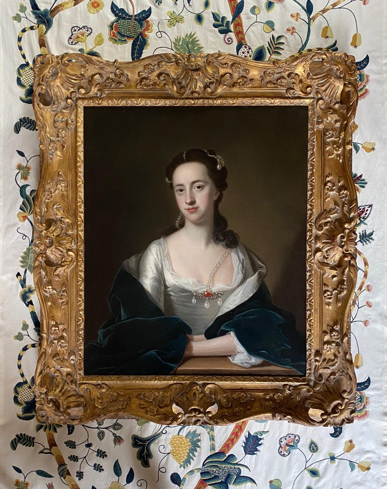 18TH CENTURY ENGLISH PORTRAIT OF A LADY IN WHITE DRESS AND BLUE CLOAK  - Old Masters Painting by Thomas Hudson