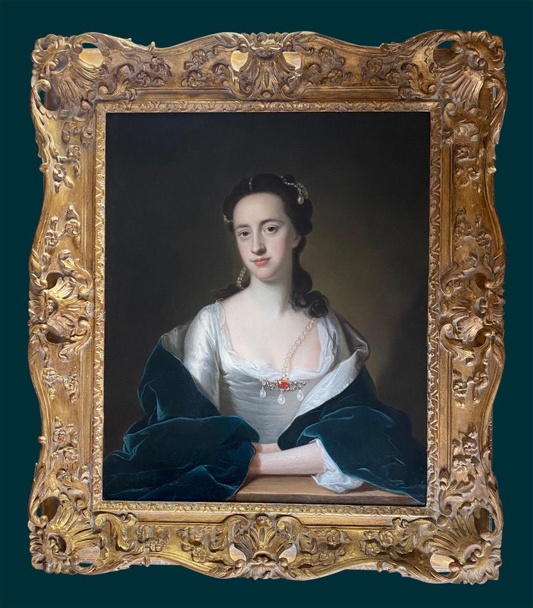 Period Portraits are thrilled that conservation has has revealed this fine 18th century portrait of an elegant beauty, to be an original work by the British painter Thomas Hudson.  This painting is a high quality example of Hudson's work. The