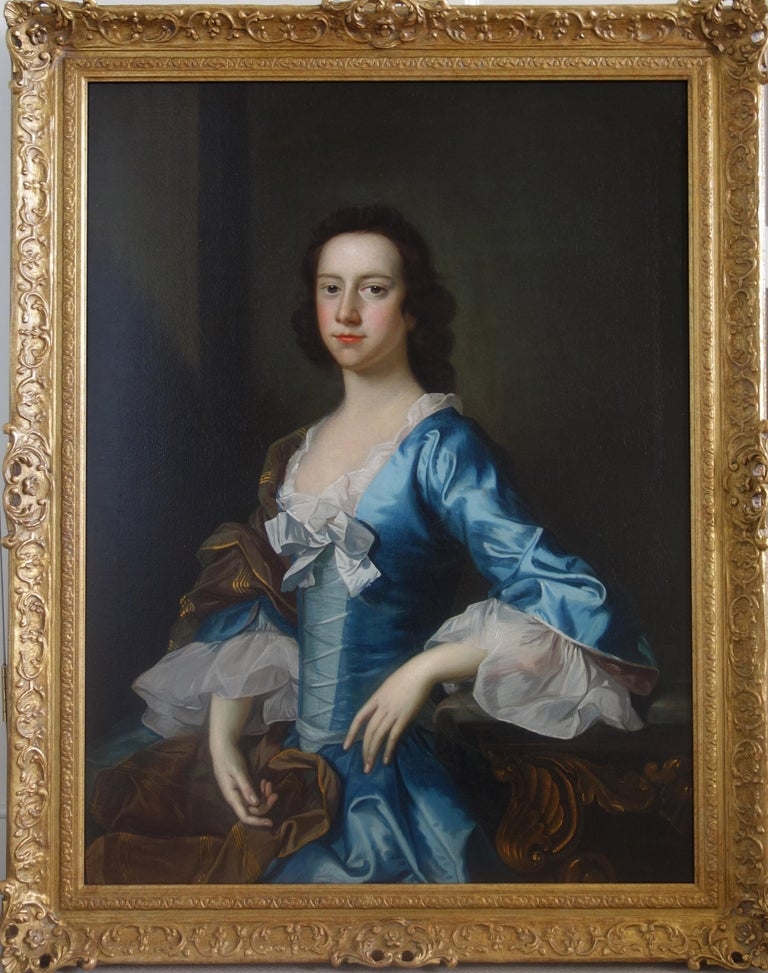 English 18th century Portrait of a Lady wearing blue silk  - Painting by Thomas Hudson