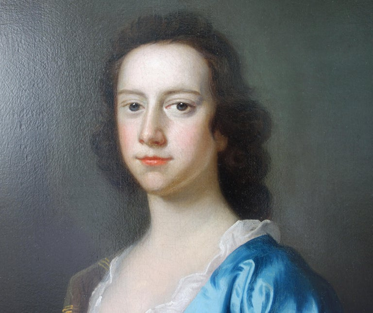 English 18th century Portrait of a Lady wearing blue silk  - Black Portrait Painting by Thomas Hudson