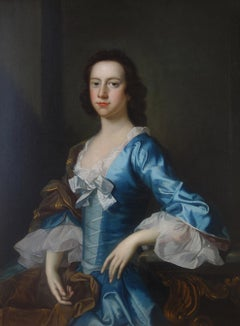 English 18th century Portrait of a Lady wearing blue silk