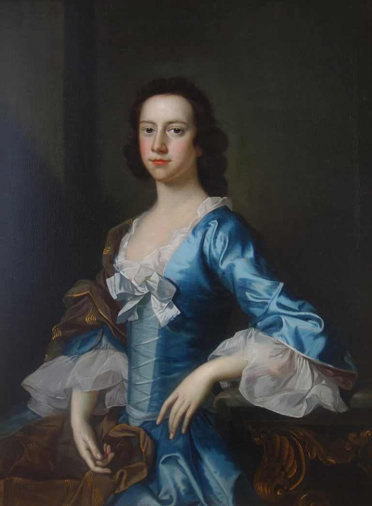 Thomas Hudson Portrait Painting - English 18th century Portrait of a Lady wearing blue silk