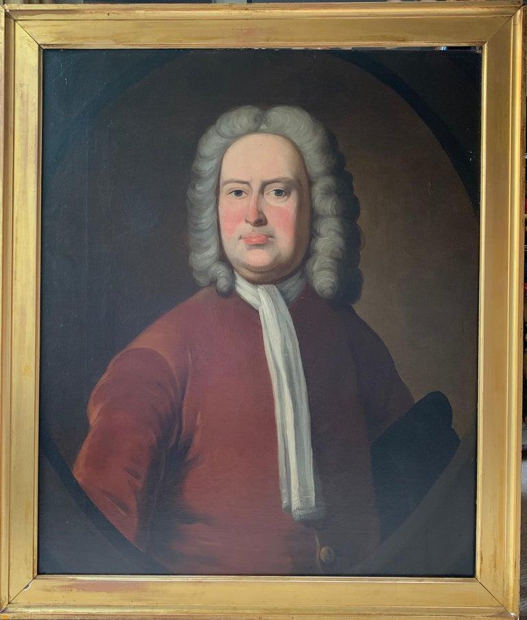 Portrait of an Aristocratic Gentleman in Crimson Velvet Jacket Oil Painting - Black Portrait Painting by Thomas Hudson