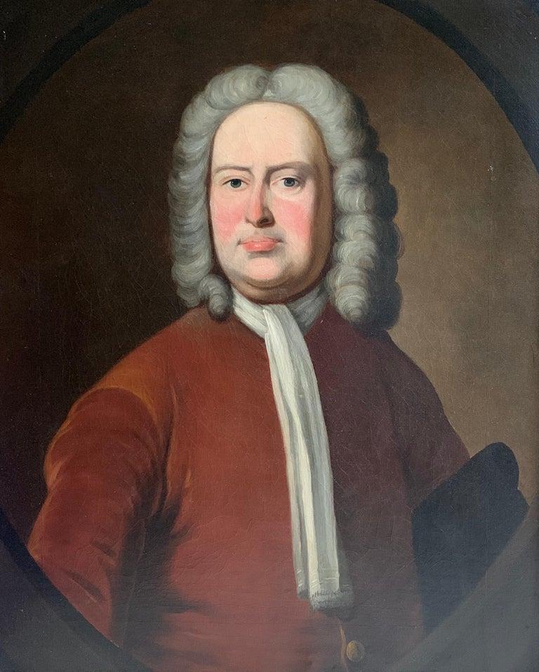 Thomas Hudson Portrait Painting - Portrait of an Aristocratic Gentleman in Crimson Velvet Jacket Oil Painting