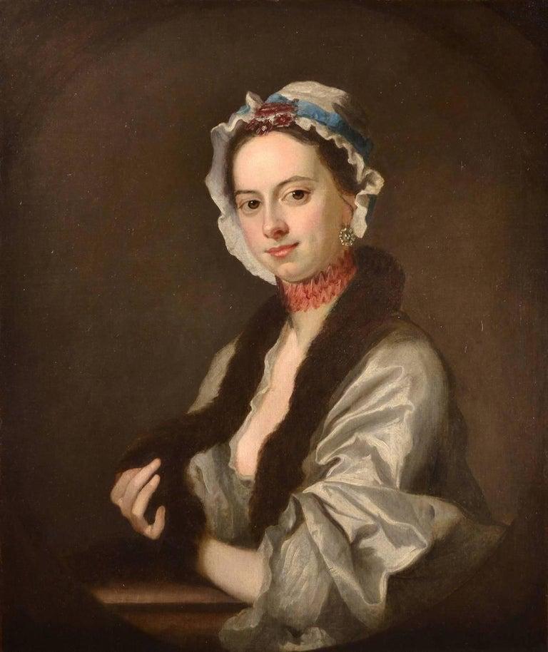 Thomas Hudson Portrait Painting - Portrait of Mrs Faber, 18th Century Oil Painting