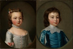 Thomas Hudson - Pair of portraits - 4th Duke of Beauforts children