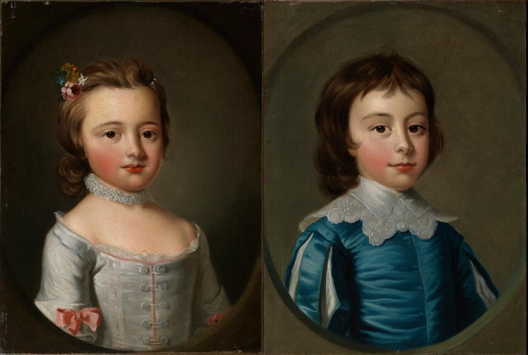 Thomas Hudson 1701-1779 The eldest children of Charles Noel, 4th Duke of Beaufort: Head and shoulders portraits of Henry (1744-1803; later 5th Duke) a little boy dressed in blue Van Dyck costume, and his sister Lady Anne Somerset,  (1741-1763) in a