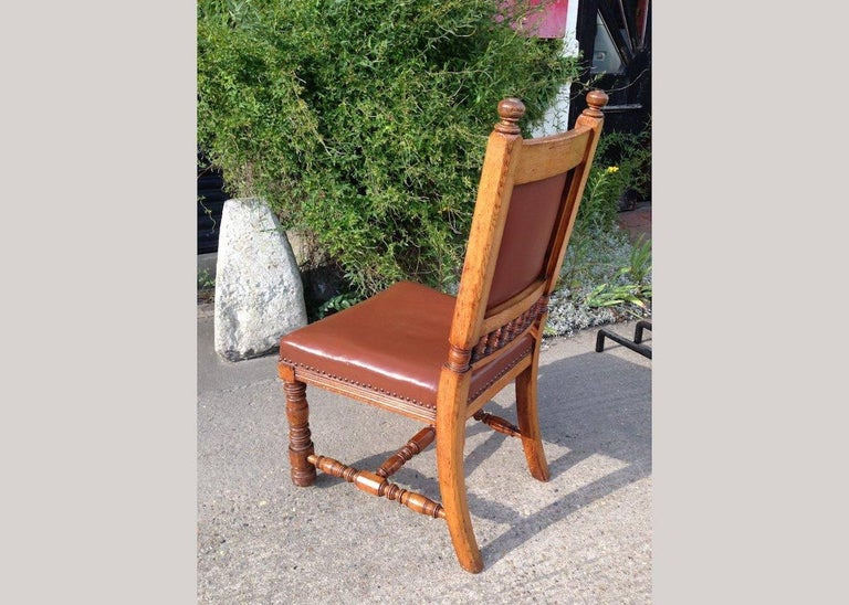 English Thomas Jeckyll by Gillows, Aesthetic Movement, Rare Set of Ten Oak Dining Chairs For Sale