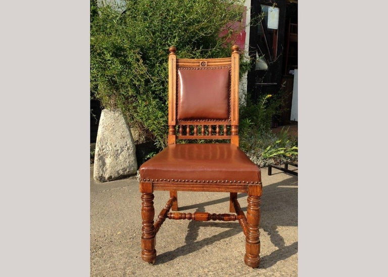 Hand-Carved Thomas Jeckyll by Gillows, Aesthetic Movement, Rare Set of Ten Oak Dining Chairs For Sale