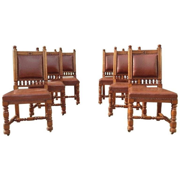 Thomas Jeckyll by Gillows, Aesthetic Movement, Rare Set of Ten Oak Dining Chairs For Sale