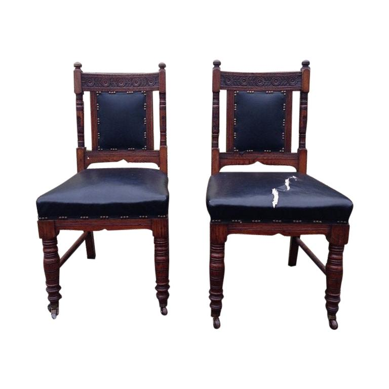 Thomas Jeckyll Style a Pair Aesthetic Movement Oak Dining Chairs with Sunflowers