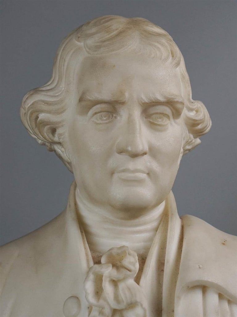 Thomas Jefferson white marble figure holding the declaration of independence, 19th century, in the manner of horatio stone (1808-1875) the present work is unsigned but is reminiscent of horatio stone's life-size marble figure of John Hancock in the