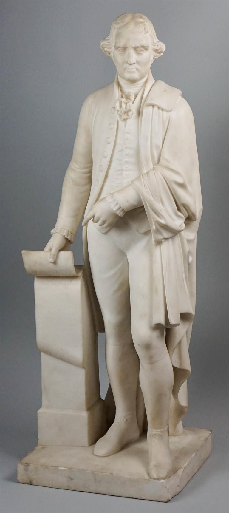 American Thomas Jefferson White Marble Figure Holding the Declaration of Independence For Sale