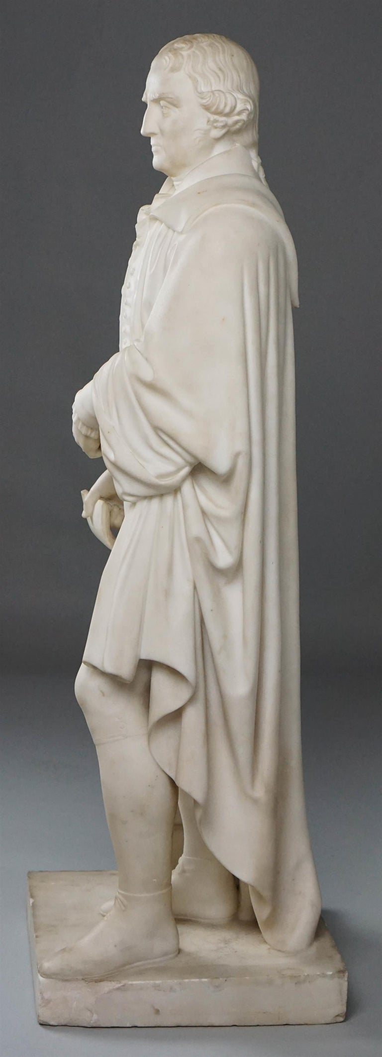 Mid-19th Century Thomas Jefferson White Marble Figure Holding the Declaration of Independence For Sale