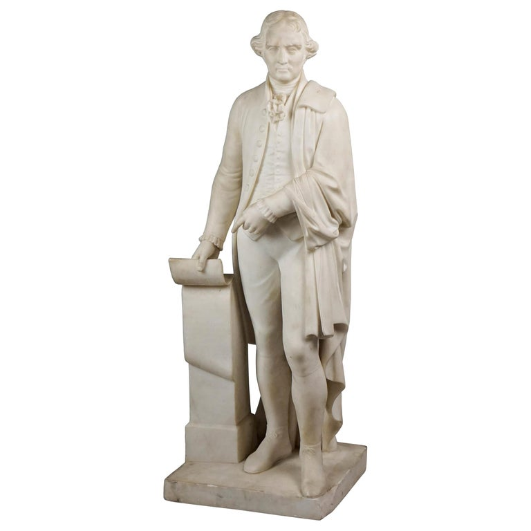 Thomas Jefferson White Marble Figure Holding the Declaration of Independence For Sale