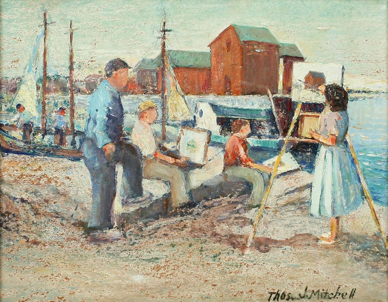 Antique American impressionist oil painting by Thomas John Mitchell (1875 - 1940).  Oil on board, circa 1920. Signed.  Displayed in a period giltwood frame.  Image, 10