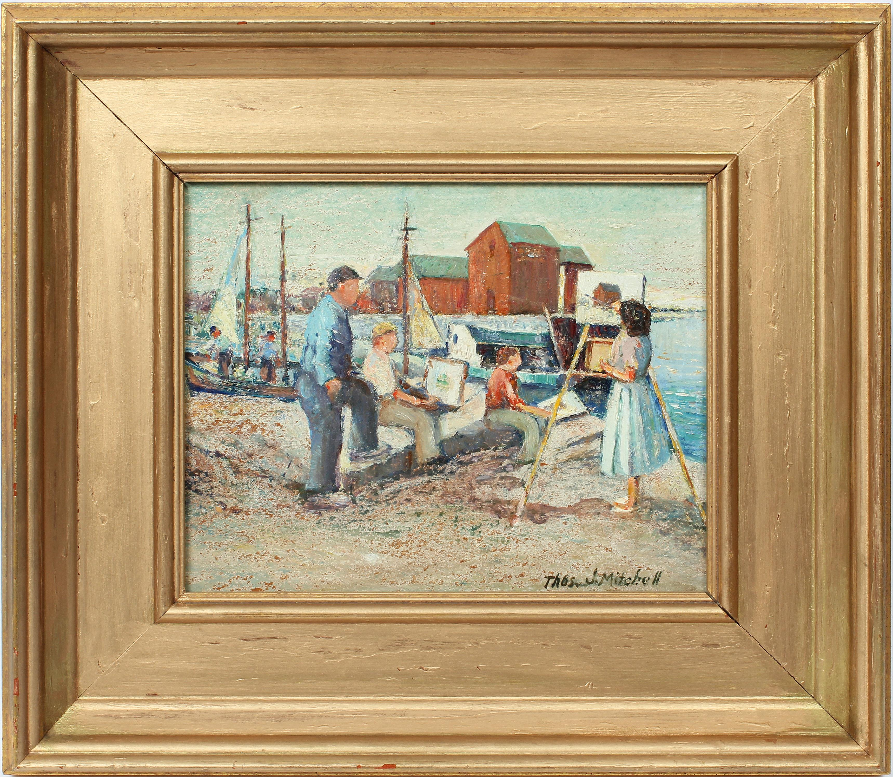 """Antique American Impressionist Seascape Oil Painting """"Sketching by the Sea"""""""