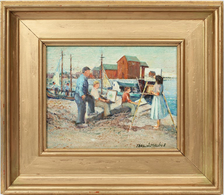 """Thomas John Mitchell Landscape Painting - Antique American Impressionist Seascape Oil Painting """"Sketching by the Sea"""""""