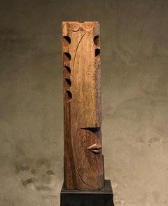 Azubé Big Wooden Head Abstract Figurative Geometric Sculpture In Stock