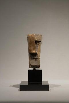 Cubicus Bronze Sculpture Figurative Abstract Geometric Head In Stock