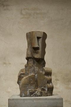 Sun Set Big Bronze Sculpture Geometric Abstract Figurative Head In Stock