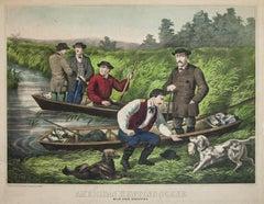 American Hunting Scene Wild Duck Shooting original Lithograph 1865