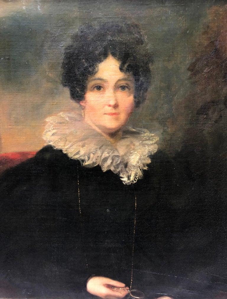 Portrait, Circle of Sir Thomas Lawrence, Oil Painting of Lady - Black Portrait Painting by Thomas Lawrence (circle)