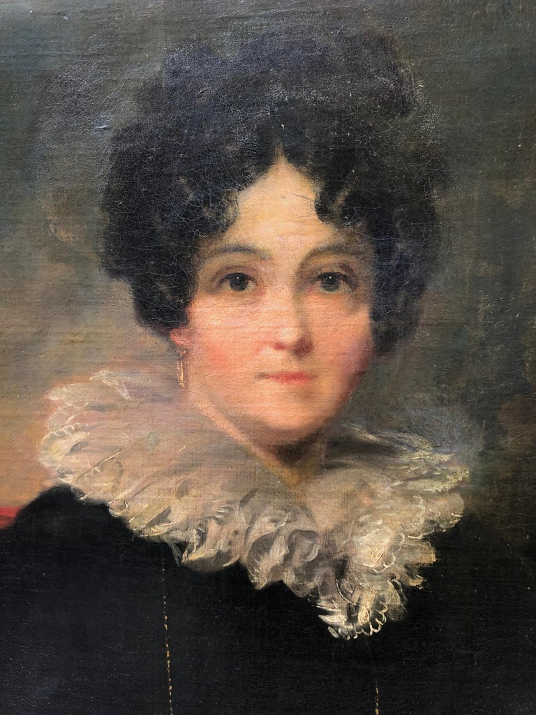 Portrait, Oil Painting of lady with black dress circle of Sir Thomas Lawrence.  Canvas Size: 30