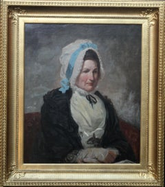Portrait of a Lady - Old Master British early 19thC oil painting woman bonnet