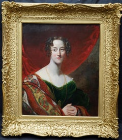 Portrait of a Young Woman with Shawl - British early 19thC portrait oil painting