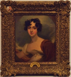 "Attributed Sir Thomas Lawrence, ""Lady Beauclerk"" Oil on Canvas 13 x 12"