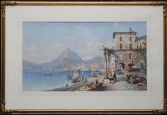 Bay of Naples Italy - British 19th century art oil painting Italian marinescape