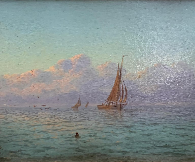 English Victorian 19th century Marine scene with fishing boats sunrise at sea. - Painting by Thomas Lucop
