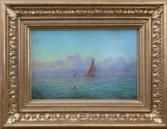 English Victorian 19th century Marine scene with fishing boats sunrise at sea.