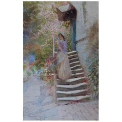 """Thomas Mackay 1913 Watercolor Painting """"Woman on Stairs"""""""