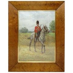 Thomas Mackay Oil Painting Bird's-Eye Maple Frame 1912 British Soldier Signed