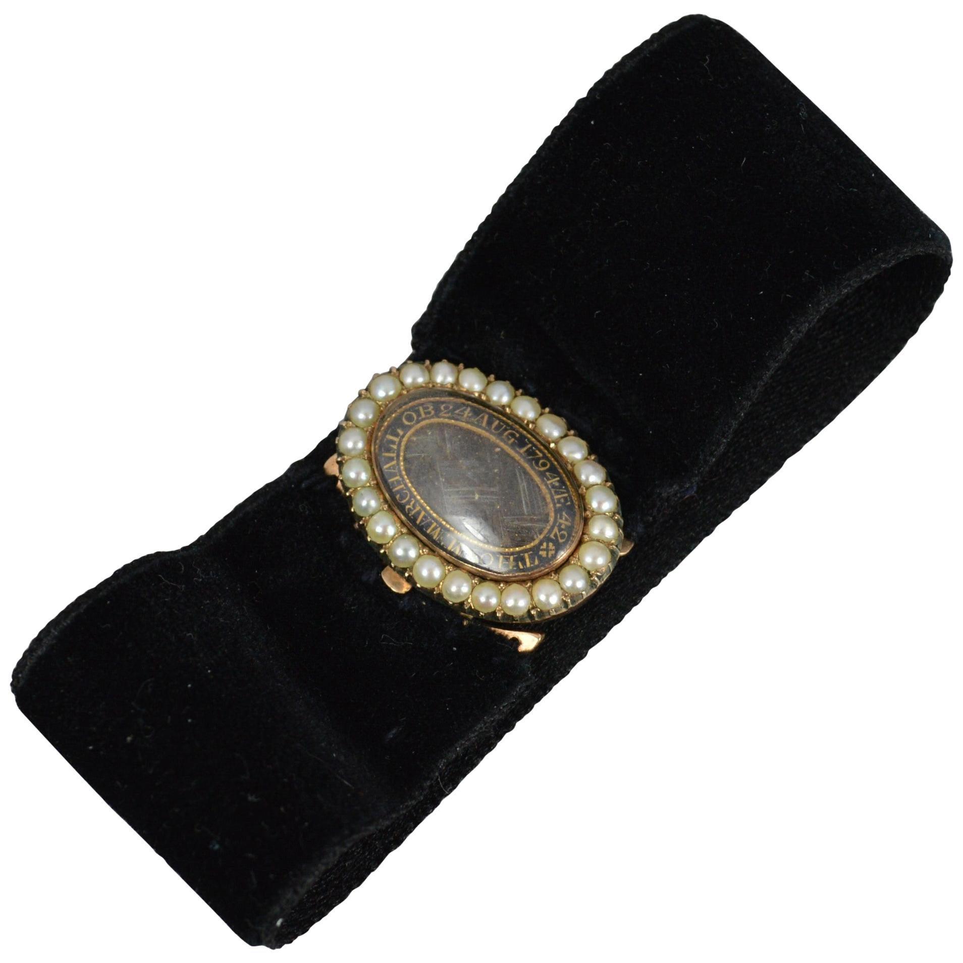 Thomas Marchall 1794 Georgian Rose Gold Enamel Mourning Clasp Bracelet