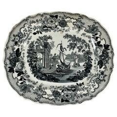 Thomas Mayer Oriental Scenery Neoclassical Black & White Transferware Platter