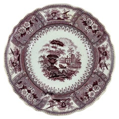 Thomas Mayer Purple Canova Pattern English Staffordshire Transferware Plate