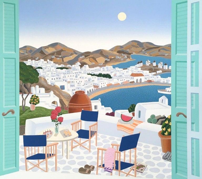 Mykonos Terrace, Limited Edition Silkscreen, Thomas McKnight - Print by Thomas McKnight