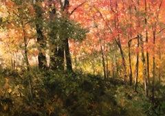 A Bright Autumn Morning, Sunny Orange and Yellow Impressionist Landscape Oil