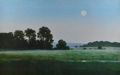 Full Moon Reflecting, Watercolor Landscape